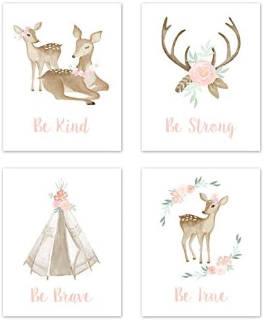 Sweet Jojo Designs Blush Pink and Mint Wall Art Prints Room Decor for Baby Nursery and Kids product image