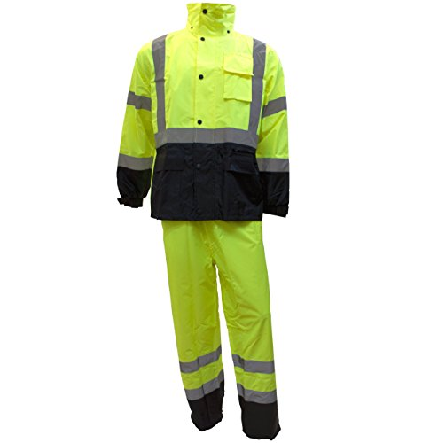 RK Safety Class 3 Rain suit, Jacket, Pants High Visibility Reflective...