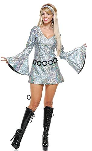 Charades Women's Sparkle Diva Disco Dress, Silver, Small