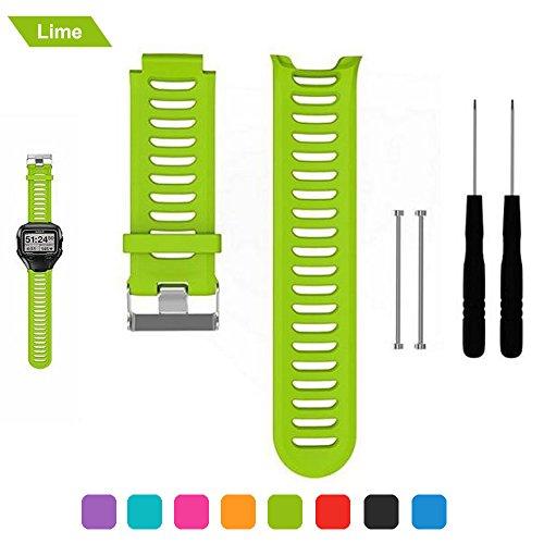 bemodst Uhrenarmbänder für Garmin Forerunner 910 X T Ersatz Band Handschlaufe, Silikon atmungsaktiv Armbanduhr Band Uhrenarmband Uhr Gurt mit entfernen Werkzeug für Forerunner 910 X T, lime
