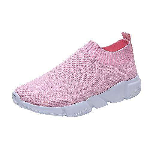 TTLOVE Damen Socken Schuhe Outdoor Schuhe Freizeit Slip On Bequeme Sohlen Sports Atmungsaktiv Mesh Schuhe (Rosa,38)