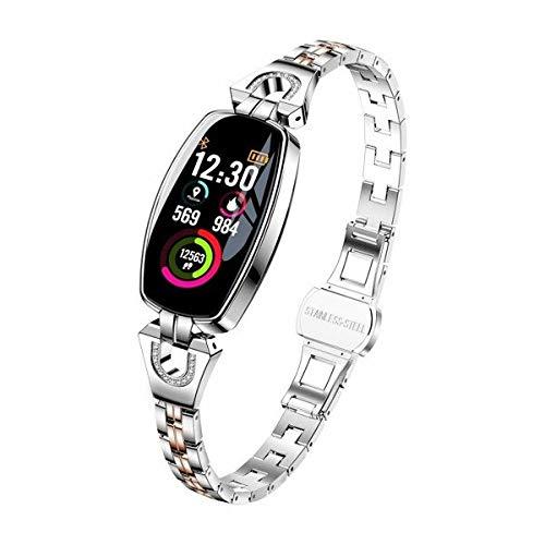 H8 - Reloj de pulsera inteligente para mujer con monitor de presión arterial, correa de acero resistente al agua, color plateado