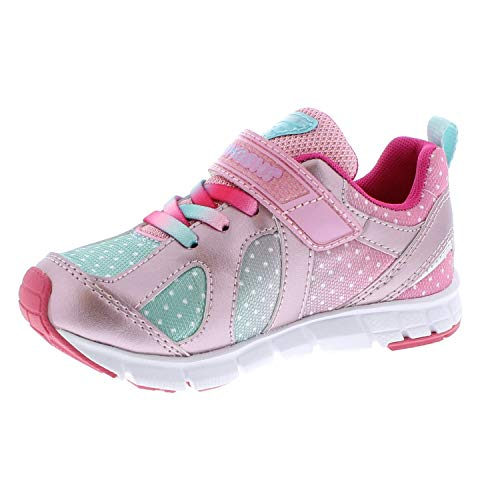 TSUKIHOSHI 3584 Rainbow Strap-Closure Machine-Washable Child Sneaker Shoe with Wide Toe Box and Slip-Resistant, Non-Marking Outsole - Rose/Mint, 13.5 Little Kid (4-8 Years)