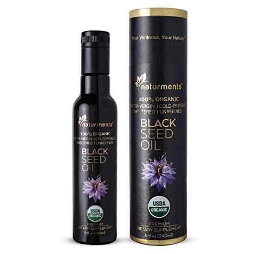 Naturments Premium Black Seed Oil USDA Certified 100% Organic Cold Pressed for Potency Non-GMO Vegan Gluten Free Cruelty Free Nigella Sativa Oil for Immune Joints Digestion Hair & Skin 8oz