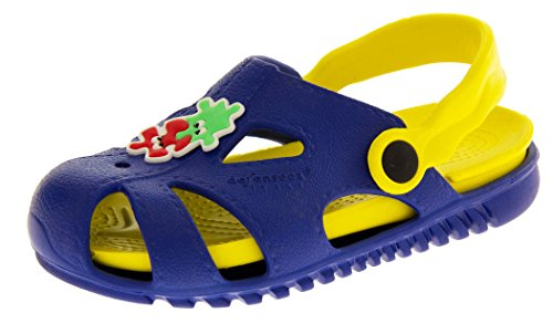 Footwear Studio Ouvertes à l'arrière Garçons - Bleu - Blue & Yellow, 26 EU