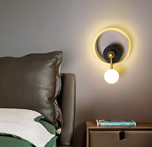 Dorado Redondo lámpara de pared Moderno LED Minimalismo Arte planchar Lámpara de noche Pared de TV salón Cuarto Sala de estar Estudio Corredor Iluminación de pared Pantalla de acrílico 10W Luz calida