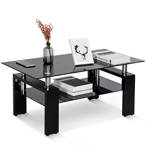 Gehärtetes Glas Chrom Wohnzimmer Couchtisch, Wohnzimmertisch Wohnzimmer Tisch Beistelltisch Schwarz Modern Rectangle Tea Table mit unteren Regal Holzbeinen, L 100 X B 60 X H 45 cm (Schwarz)