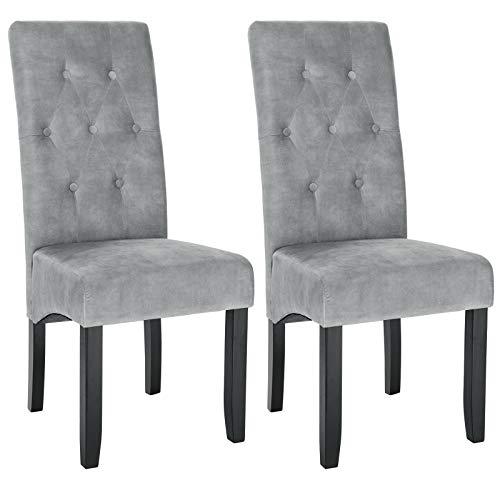 WOLTU Esszimmerstühle BH294hgr-2 2er Set Küchenstuhl Lehnstuhl Polsterstuhl mit hoher Rückenlehne, Beine aus Massivholz, gepolsterte Sitzfläche aus Samt, Hellgrau