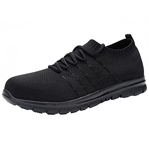 [DYKHMILY] 安全靴 レディース 鋼先芯(JIS H級相当) 軽量 防水 耐滑 通気性 耐摩耗性 屈曲ソール セフティーシューズ ワークシューズ カジュアル スニーカー 作業靴 あんぜん靴(25.0,ブラック)