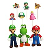 3 Super Mario Bros Cake Topper Figures Toy Set,24 Cakecup Topper-Kids Birthday Party Cake Decoration Supplies