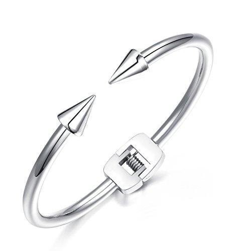 iLove EU Damen Armband, Edelstahl Nagel Spitze Offen Charm Armreif, Silber