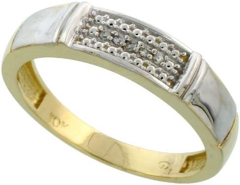 10k Yellow Gold Mens Diamond Wedding Band Ring 0.03 cttw Brilliant Cut, 3/16 inch 5mm wide