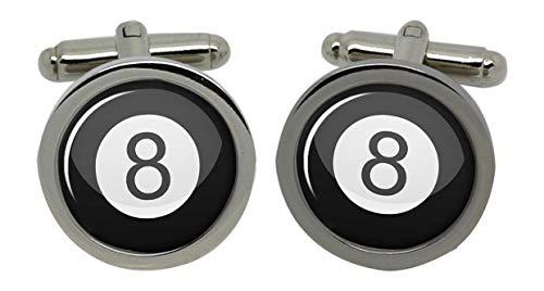 8 Ball Queue de billard Billard Boutons de manchette pour homme avec coffret cadeau Chromé