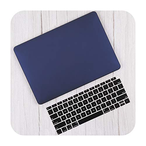 Matte Plastic Hard Shell Cover for MacBook Air 13 inch A2337 A2179 2020 Pro 13 16 Touch bar A2141 A2338 A2289 Case+Keyboard Skin-Navy Blue-Pro 16 inch A2141