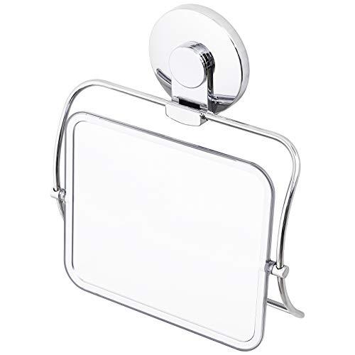 LEVERLOC Duschspiegel Saugnapf Schminkspiegel Duschspiegel Acryl Bruchsicher Rostfrei 360 ° drehbar hängend tragbar für Badezimmerreisen Geschäftsreise Chrom