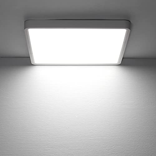 Combuh Plafón LED 36W 4050Lm Fácil de Instalar Modernos Lampara de Techo para Dormitorios Salones Cocina Blanco Frío 6500K Cuadrado 30 * 30 * 2.3CM