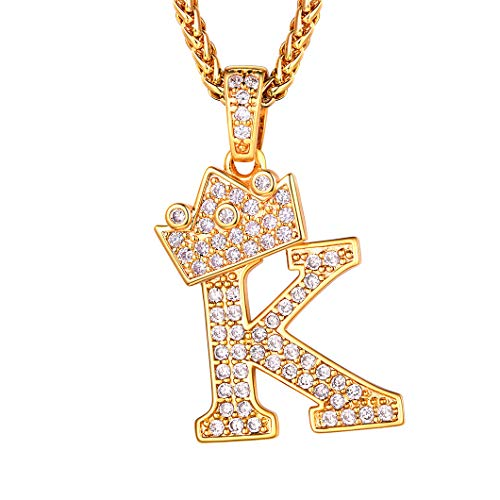 Richsteel 18K Gold Plated Letter K Necklace for Men Women Cubic Zirconia Ice Out Pendant with 22'' Chain Name Jewelry Gift
