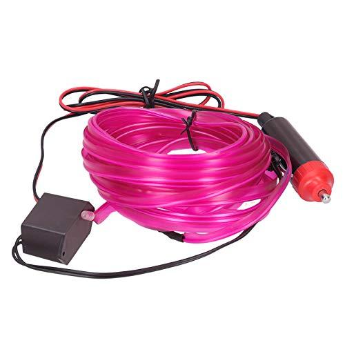 aqxreight - Luz ambiental para coche, 5 m / 16,4 pies, tira de LED automática para encendedor de cigarrillos, luz ambiental luminosa para el interior del coche, 12 V CC(Rosa)