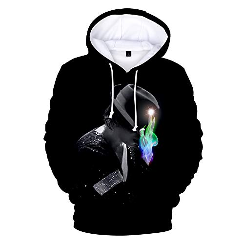 KJYAYA 3D Hoodie Michael Jackson Sweatshirt Mit Kapuze Unisex-Top 3D Gedruckter Langarmpullover Fan Geschenk