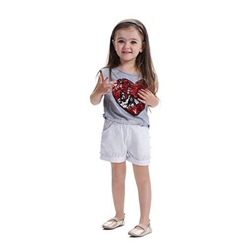 Fancyland Bébé Filles Justaucorps T-Shirt Paillettes sans Manches à Sequins de Imprimé Cœur