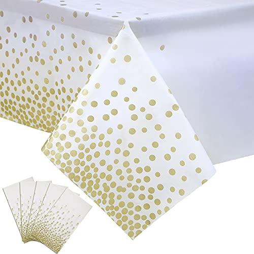 5 Paquetes Manteles Rectangulares de Plástico Mantel Impermeable Desechable Cubierta de Mesa de Fiesta para Decoración de Cumpleaños Navidad, 54 x 108 Pulgadas (Blanco y Rosa Oro) (Blanco y Oro)