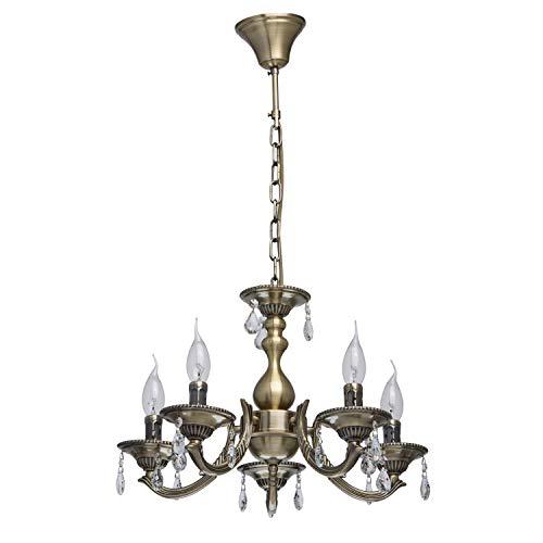 MW-Light 371011605 Lampadario da Soffitto Barocco in Metallo Colore Ottone Anticato Gocce di Cristallo Trasparente in Stile Classico 5 x 60W E14 Escl
