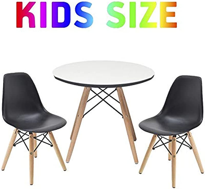 Buschman Set Of Kids Dining Room Mid Century Wooden Legs Table Scratch Protected Surface And Two Armless Black Chairs