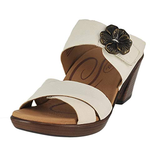Aetrex Womens Staci Leather Open Toe Casual Platform Sandals, White, Size 6.0