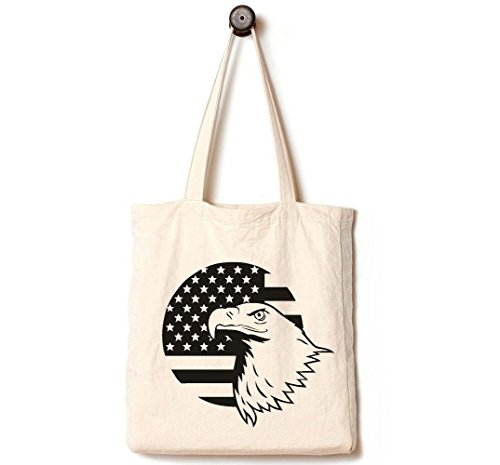 Andes Heavy Duty Canvas Tote Bag, Handmade from 12-ounce Pure Cotton, Perfect for Party Supplies, Shopping, Laptop, School Books, The Patriot American Bald Eagle