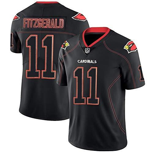 Larry Fitzgerald 11# Rugby-Trikots, Arizona Cardinals # 11 American Football Jersey Besticktes T-Shirt, Herren-Sportbekleidung-Trainingstuch-Black-S