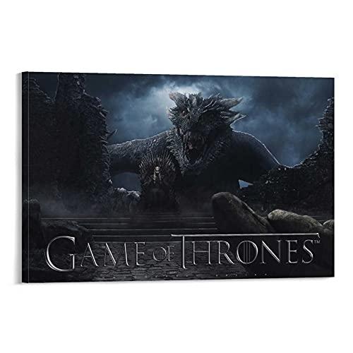 DRAGON VINES Juego de Tronos Daenerys Targaryen Iron Throne Cool Wall Decor Art Print Póster de impresión de alta definición sobre lienzo para pared, decoración de sala de estar, 40 x 60 cm