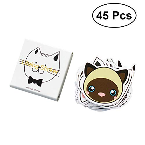 45 Pcs Stickers Super Cute Cat Stickers for DIY Albums Diary Laptop Decoration Cartoon Scrapbooking Sealing Stickers School Office Stationery Best Gift for Your Kids