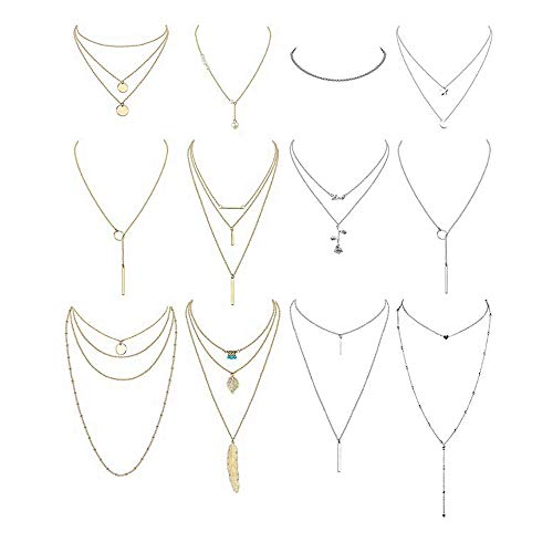 Finrezio 12Pcs Long Layered Necklaces Choker Set for Women Girls Star Rose Circle Leaf Pearl Feather Pendant Gold Silver