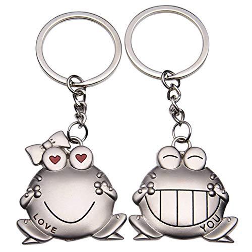 ODETOJOY - Llaveros de pareja (2 unidades, diseño de rana de metal plateado, llavero para pareja, novio y novia, llavero para él y para ella