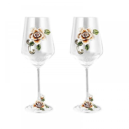 Copa de vino de cristal de 350 ml, elegante cristal pintado a mano con forma de ginebra, vidrio de vino, sin plomo, cristal premium – regalo para boda, aniversario, Navidad (amarillo 2 lite)