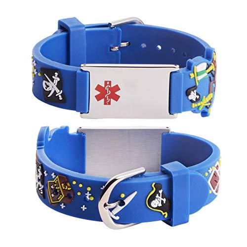 Blue Medical Alert FOOD Grade Silicone Rubber Bracelet Bracelet d/'urgence SOS