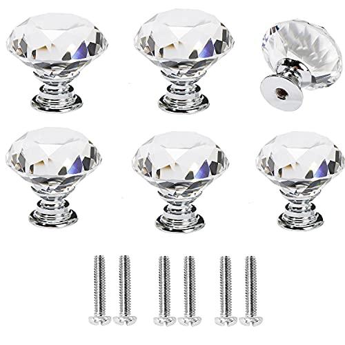 Pomos Cristal 6 Piezas 30mm Pomo de Cristal Tiradores Con Cristal para Cajones Muebles Perilla de la de Puerta Tornillo Perillas Manijas Pomos Cristal Para Casa Oficina Pecho Gabinete Cajón Muebles