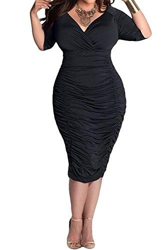 POSESHE Womens Plus Size Deep V Neck Wrap Ruched Waisted Bodycon Dress (3X-Large, Black)