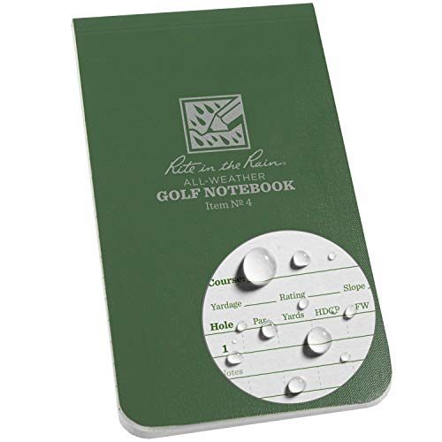Rite in the Rain All Weather Golf Notebook, 3.5' x 6', Green Field Flex, Club Yardage Book & Hole Notes (No. 4)