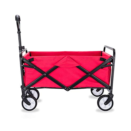 JCX Opvouwbare Outdoor Beach Wagon, Grote Capaciteit Kruiwagen Tuinwagen Kinderen Trekken Langs Wagon, Strand Barbecue Picknicken Zware Duty Oxford Mand
