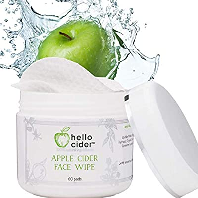 Apple Cider Vinegar Acne Face Toner Pads - Organic Tea Tree, Witch Hazel, Rose, Lavender. Tone, Reduce Blemish, Balance pH, Clear Pores & Reduce Acne, All Skin types, 60 pads. USA/Small Business by Hello Cider