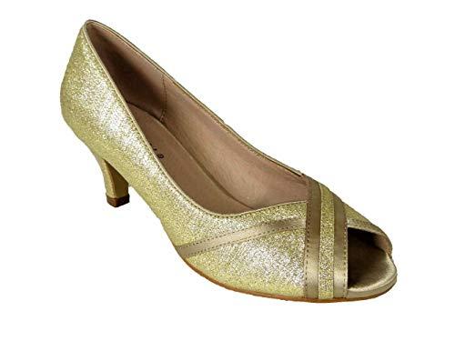 Zapatos de mujer con purpurina para novia, sin cordones, de tacón bajo,...