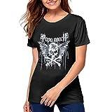 Womens 3D Print Papa Roach Short Sleeve Tops Tee Ladies Summer Casual Shirt XXL Black