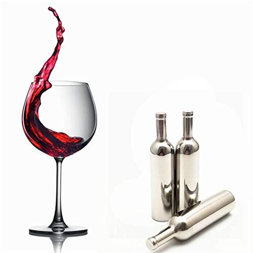 SO-buts - Cubitos de hielo de acero inoxidable con forma de botella de vino, reutilizables, con piedras de metal para enfriar whisky, para mantener el vino frío, beber whisky, enfriar cubitos de hielo