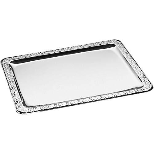 APS 382 SCHÖNER ESSEN Edelstahl Tablett mit dekoriertem Rand, 42 x 31 cm