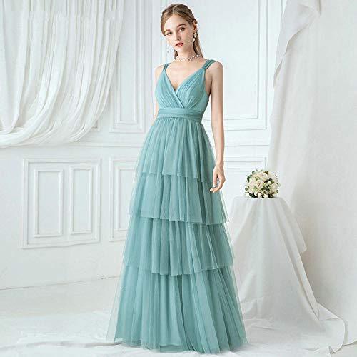 Partykleid Elegante Blaue BrautjungfernPartykleid Schichten A-Linie V-Ausschnitt Geraffte Spaghettiträger Tüll Hochzeitsparty Kleider-Blau_6