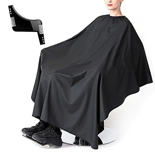 Negro Capa Peluqueria, Capa de Peluquería Delantal de Afeitar Salón Bata de Corte de Pelo Barber Cape Peluquería Colector de Pelo Corte de Pelo Delantal de Peluquero Con un peine de barba(150x120cm)