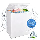 WATOOR 5.0 Cu.ft Chest Freezer Small Deep Freezer Mini Outdoor Chest Freezers Upright with 3 Removable Baskets 7 Temperature Settings White