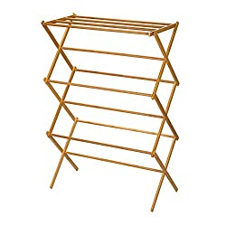 Image: Household Essentials 6524 Tall Indoor Folding Wooden Clothes Drying Rack | Dry Laundry and Hang Clothes | Bamboo