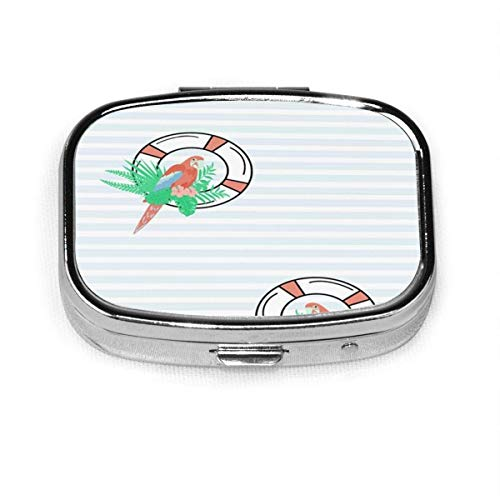 Pill Box - Sea Parrot Lifebuoy Tropical Nature Pill Boxes, Portable Rectangular Metal Silver Pills Case, Compac.